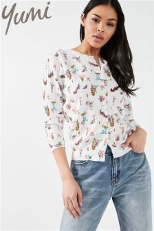 Yumi Tropical Drinks Printed Cardigan
