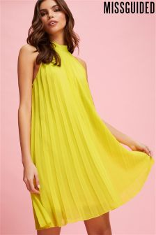 Missguided Chiffon Pleated High Neck Swing Dress
