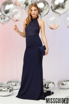 Missguided Bridesmaid Lace Fishtail Maxi Dress