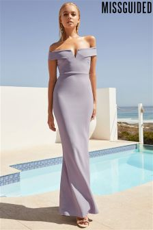 Missguided Crepe Bardot Maxi Dress
