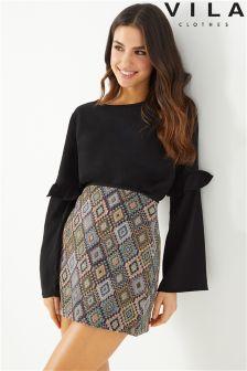 Vila Jacquard Mini Skirt