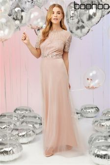 Boohoo Embelished Nude Maxi Dress