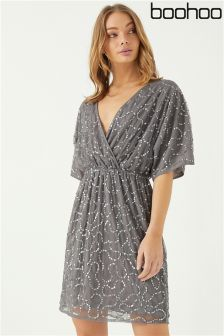 Boohoo Embellished Sequin Wrap Dress