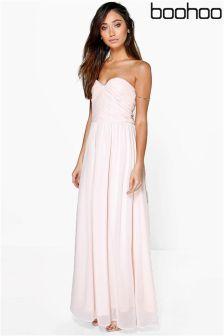 Boohoo Bridesmaid Maya Pleated Chiffon Top Bandeau Maxi Dress