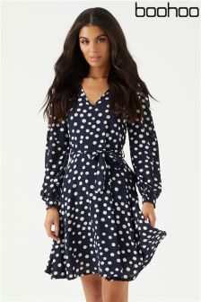 Boohoo Polkadot Skater Dress