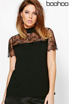 Boohoo Lace Neck Top