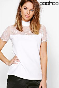 Boohoo Lace  High Neck Top