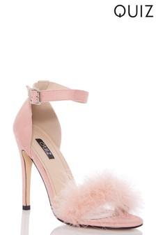 Quiz Feather Strap Stiletto Heeled Sandal
