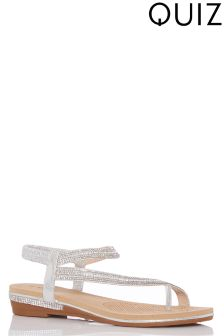 Quiz Shimmer Slant Diamanté Sandals