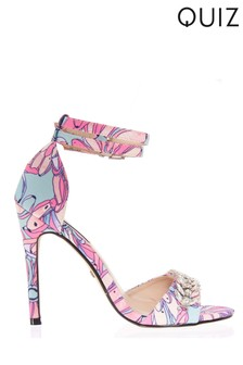 Quiz Double Strap Jewelled Barely There Stiletto Sandals