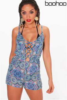 Boohoo Lace Up Beach Playsuit