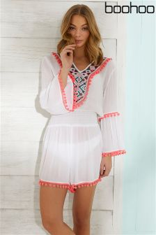 Boohoo Pom Trim Beach Playsuit