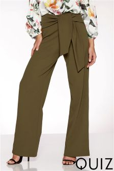 Quiz Crepe High Waisted Wide Leg Trousers
