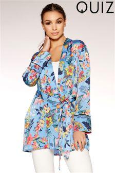 Quiz Satin Floral Print Tie Belt Kimono
