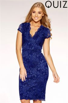 Quiz Lace Scallop Detail Cap Sleeve Dress
