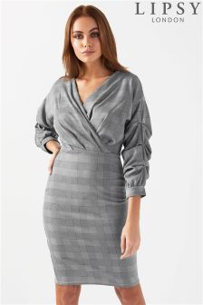 Lipsy Check Tuck Sleeve Bodycon Dress