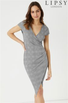 Lipsy Check Wrap Bodycon Dress