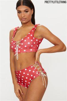 PrettyLittleThing Polka Dot High Waisted Bikini Briefs