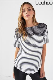 Boohoo Maternity Stripe Lace T-Shirt