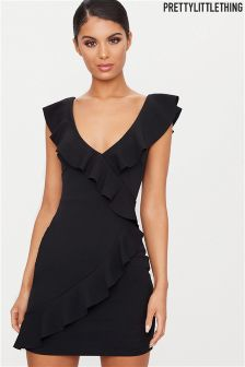 PrettyLittleThing Ruffle Asymmetric Dress