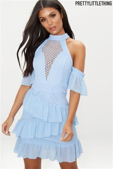 PrettyLittleThing Mesh Frill Detail Bodycon Dress