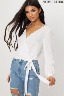 PrettyLittleThing Lace Wrap Top