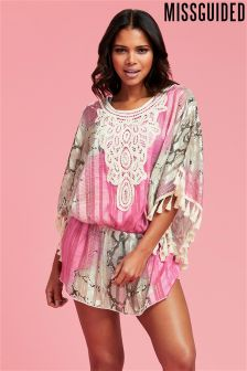 Missguided Snake Embroidered Satin Kaftan Dress