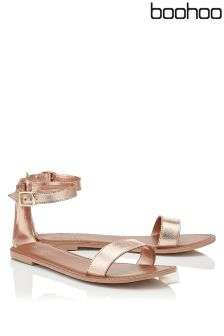 Boohoo Eleanor Two Part Leather Sandal