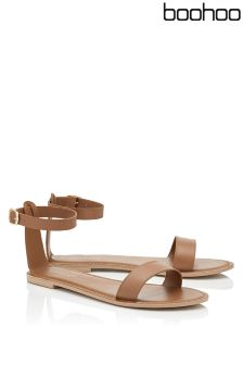 Boohoo Two Part Leather Sandals