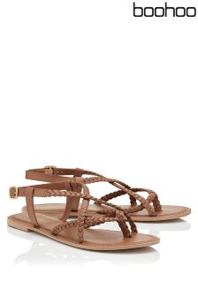 Boohoo Plaited Leather sandal