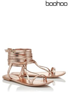 Boohoo Matilda Wrap Strap Leather Sandal