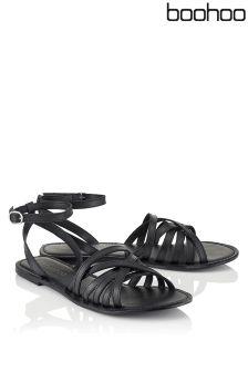 Boohoo Cross Wrap Strap Leather Sandals