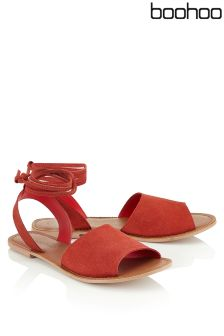 Boohoo Suede Peep Toe Wrap Ankle Strap Sandals