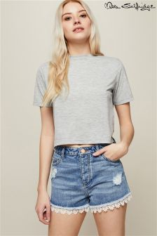 Miss Selfridge Crochet Denim Shorts