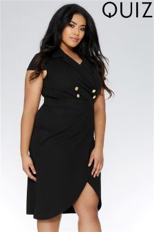 Quiz Curve Cap Sleeve Double Button Dress