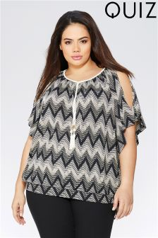 Quiz Curve Zig Zag Print Cold Shoulder Tassel Top