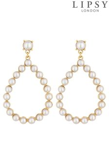 Lipsy Pearl Peardrop Hoop Earrings