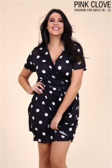 Pink Clove Plus Spot Wrap Over Dress