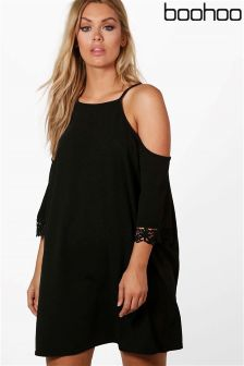Boohoo Plus Cold Shoulder Dress