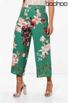 Boohoo Plus Lana Oriental Floral Print Woven Trousers
