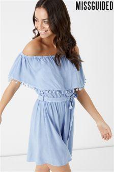 Missguided Chambray Bardot Dress