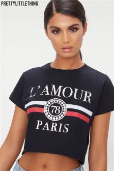PrettyLittleThing Cropped Slogan Print Fitted T-Shirt