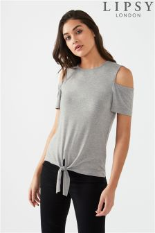 Lipsy Tie Front Cold Shoulder Top