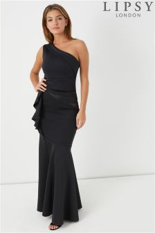 Lipsy Ruffle Pleat One Shoulder Maxi Dress