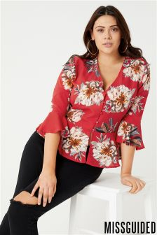 Missguided Curve Floral Print Button Top