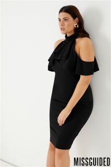 Missguided Curve High Neck Cold Shoulder Dress