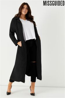 Missguided Curve Black Longline Crepe Duster Jacket