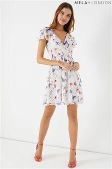 Mela London Floral Front Wrap Dress