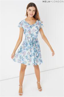 Mela London Floral Print Lace Skater Dress