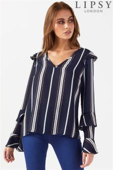 Lipsy Stripe Ruffle top